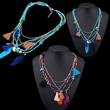 Feather Women Chain Jewelry Beads Pendants Collares Statement Necklaces Gifts