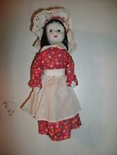 """CHINA DOLL 8"""" PORCELAIN HEAD HANDS SHOES BLACK HAIR APRON POSSIBLY VINTAGE"""