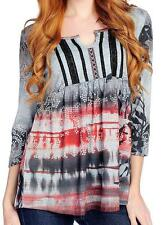 NEW - One World Printed Knit 3/4 Sleeved Ribbon Trim Peasant Top