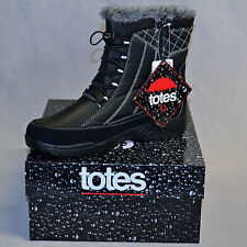 "TOTES""Eve""Comfort Winter Boots Waterproof Faux Fur Lining Black New NIB Wmn Asst"