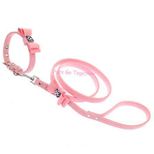 Outdoor Soft Velvet Dog Collar and Leash Set Solid Pet Walking Lead Bow Design
