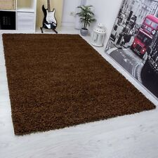Modern Shaggy Rugs High Pile Small Large Runner Soft Touch Thick Pile Brown
