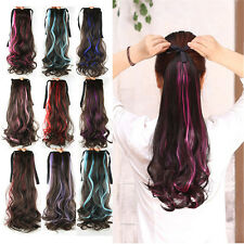 """21"""" Women Girls Long Wavy Hair Curly Hair Extensions Ponytail Colorful Gift 53hh"""
