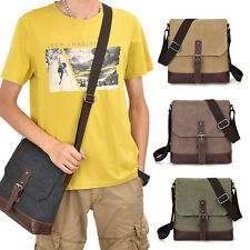Vintage Men's Canvas Leather Satchel School Military Shoulder Messenger Bag Hot