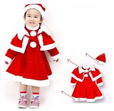 Baby Toddler Girl First Christmas Fancy Santa Costume Dress Outfit+Cape+HAT Set