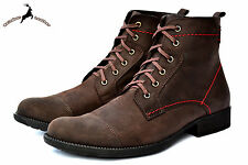 Men's Genuine Buffalo Leather Ankle Chukka Smart Lace-up Boot Shoes Fur Winter