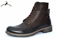 Men's Real Buffalo Leather Ankle Chukka Brown Lace-up Zip Boot Shoes Fur Winter