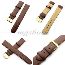 Womens /Mens Quality Unisex Genuine Leather Brown Watch Strap Band New