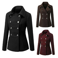 Double-Breasted Wool Long Parka Coat Winter Outwear Jacket for Women