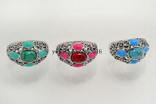 Wholesale Jewelry 10Pcs Natural Turquoise Antique Style Silver Plated Rings FREE