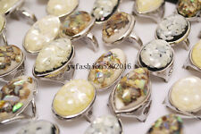 FREE Wholesale Jewelry Lots 10pcs Resin Shell Gemstone Silver Plated Rings