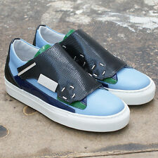 NEW Raf Simons Blue Leather Trainers with Contrast Panel GENUINE RRP: £540 BNIB
