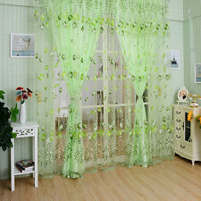 1 Pair  Tulip Floral Tulle Door Window Screening Curtain Sheer Scarfs Valances