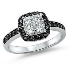 925 Sterling Silver Black & Clear CZ Wedding Love All sizes available 5-10 Ring