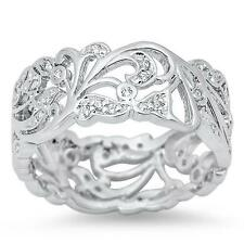 925 Sterling Silver Filigree Beautiful Clear CZ  All sizes available 4-12 Ring