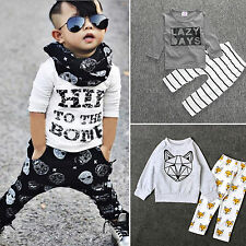 2pcs Toddler Kids Long Sleeve Baby Boys T-shirt Tops + Pants Outfits Clothes Set