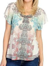 NEW - One World Printed Knit Flutter Sleeve Embellished Lace Detail Top