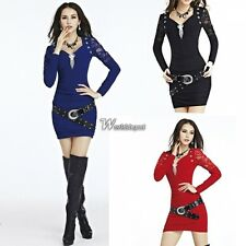 New Women Lace V-neck Long Sleeve Party Clubwear Cocktail Slim Mini Dress WT88