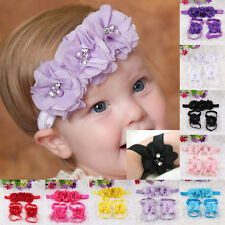 Lovely Foot Chiffon Flower Barefoot Sandals + Headband Set for Infant Baby Girl