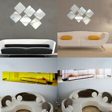 6pcs Modern Mirror Effect Self Adhesive Wall Stickers Decal Home Decoration Art
