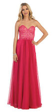 Formal Dresses Simple Strapless Sweetheart Lace Applique Chiffon Evening Gown