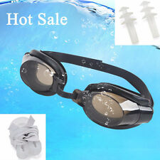 Adjustable Nose Clip+Ear Plug + Anti fog UV Swimming Goggle Glasses