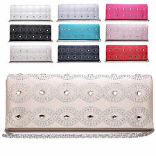 Ladies Diamante Satin Envelope Clutch Bag Evening Bag Bridal Handbag KM1056-2