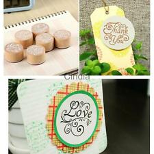 6 Types Chic Vintage Square Wooden Rubber Stamp Seal Scrapbook DIY Paper Craft