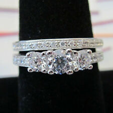 STERLING SILVER 925 Italian 3 CZ Stone Accented Wedding 2Ring Size 5, 6, 7, 8
