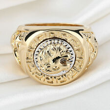 Fashion Men's 19mm Noble Band Ring Cool Lion Head 18K Yellow Gold Plated P6