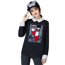 Women Long Sleeve Black T-shirt Back Button Chiffon Patchwork Casual Shirts Tops