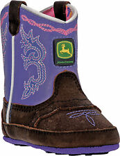 Johnny Popper Crib Girls Purple/Brown Leather Western Boots