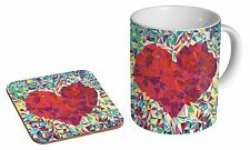 Love Heart Art Work Ceramic Tea - Coffee Mug Coaster Gift Set