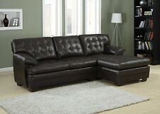 Channel Tufted 2 Piece Sectional Sofa Set Dark Brown with Bonded Leather Couch