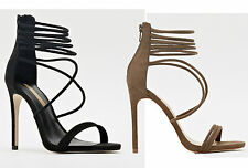 NEW LOOK WOMENS LADIES STRAPPY SUEDETTE HIGH HEEL STILETTO SANDAL SHOES SIZE