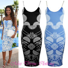WOMENS KEEGAN STRAPPY SWEATHEART FLORAL EMBOSSED PRINT BODYCON MIDI PARTY DRESS