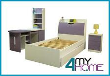Quality King Single Bed with Bedhead Storage White/Lilac Royal Blue kids bedroom