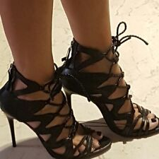 ZARA Black Lace-up Leather Sandals New Sold out Bloggers ALL SIZES