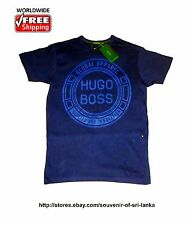 NWT Hugo Boss men's crew neck T-shirt, 100% Cotton Size S M L XL XXL Blue 3