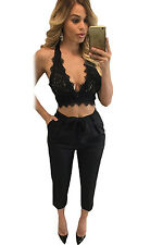 Sexy Club-wear Hollow Out Lacing Strappy Sexy Lace Bralette Open Back Crop Top
