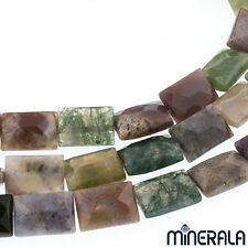 [1+1 AT 30% OFF] NATURAL INDIAN AGATE GEMSTONE FACET RECTANGLE BEADS STRAND 15''