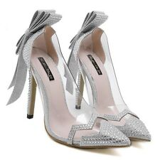 Ladies Pointed Toe Womens Wedding Stiletto Pumps High 4.53'' Heels Bridal Shoes