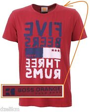 NWT Hugo Boss Orange Label by Hugo Boss LOGO Graphic T-shirt Tee in Red Size L