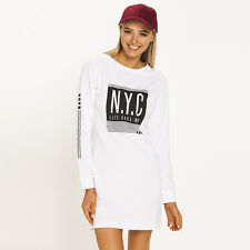 New All About Eve NYC Long Sleeve Dress in White   Womens Dresses