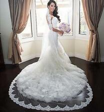 1 tier bridal veil 2.5M cathedral white / ivory lace edge bridal wedding veil