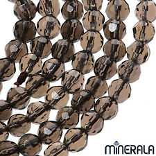 MINERALA GENUINE NATURAL SMOKY QUARTZ FACETED 4mm ROUND BEADS 40cm STRAND