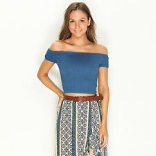 New Mooloola Polly Shirred Top in Blue | Womens Fashion Tops & Shirts