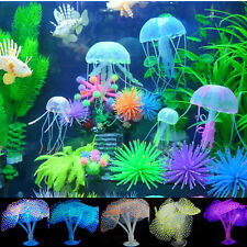 Aquarium Decor Fish Tank Artificial Coral & Jellyfish Glowing Silicone Ornaments