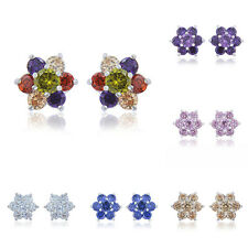 Statement Womens White Gold Filled Authentic Rainbow Crystal Stud Earrings