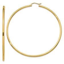 2 mm Classic Light Hoop Earrings in Genuine 14k Yellow Gold - 14 to 76mm